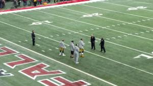 Brett Keisel helping get Cam Heyward warmed up for the game today!- Craig Feely (@feelycr).